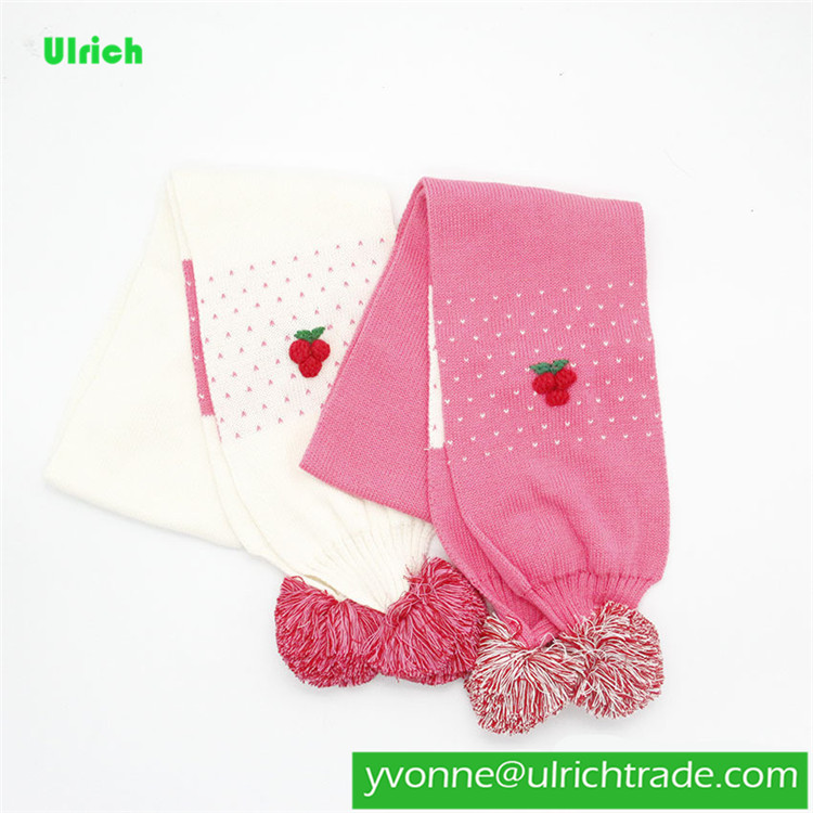 KR009 2020 New Design Girl Knit Scarf with Cute Colorful balls