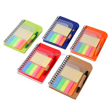Draagbare gerecycled mini Notepad boekje <span class=keywords><strong>met</strong></span> frosted pp cover en zelf garenloos papers