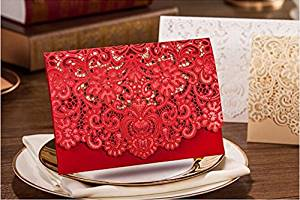 Joinwin® 25 Floral Laser Cut Wedding Invitation Table Card Seat Card Place Card For Wedding Favors And Gifts (Red)