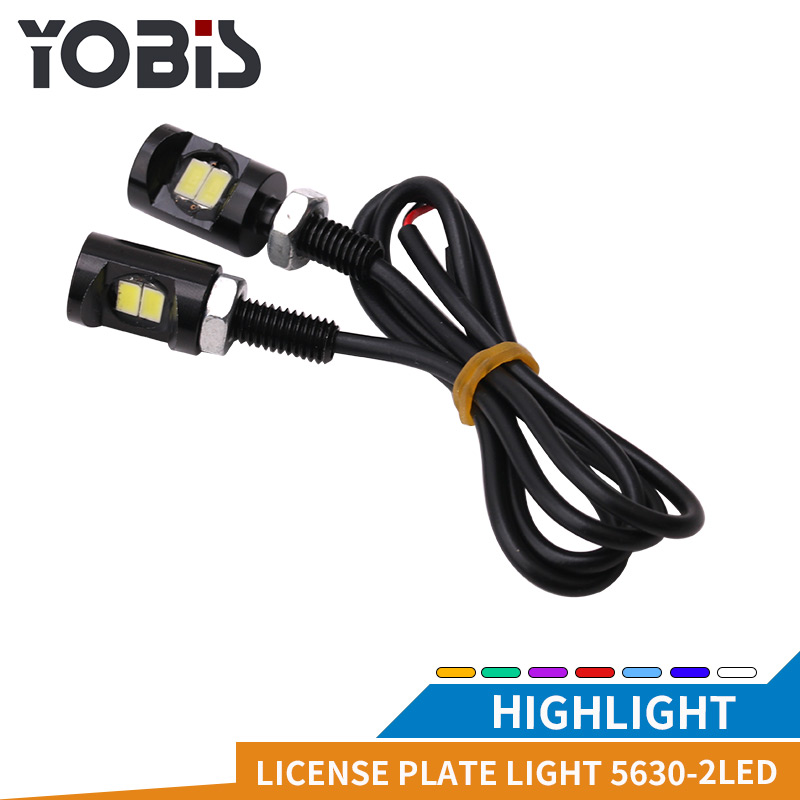 YOBIS Car Auto Motorcycle License Plate Lamp Light 12V White SMD 5630 2LED Screw Bolt Lights LED Tail Turn Signal Light Lamp