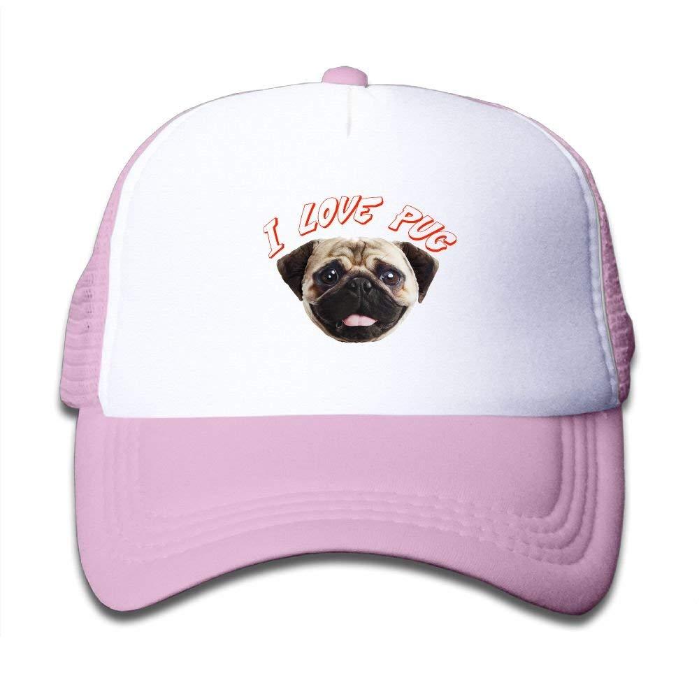 630e09c5855 Get Quotations · SDRG5 I Love Pug Lover Dog Cute Child Baby Kid Adjustable  Trucker Hat Summer Snapback