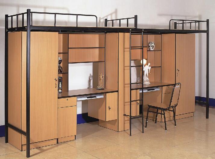 Moderne metalen student stapelbed met computer bureau en kast