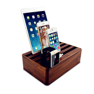 solid wood usb charging valet