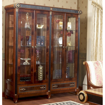 YB10 Luxury Baroque Classic Living Room Display Cabinet European Antique  Mahogany Wooden Glass Wine Display Cabinet