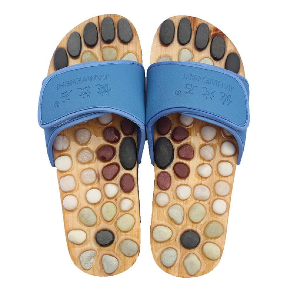 Healthcare Natural Cobblestone Foot Massage pebble massage slippers plantar acupuncture points Shoes , blue , 45