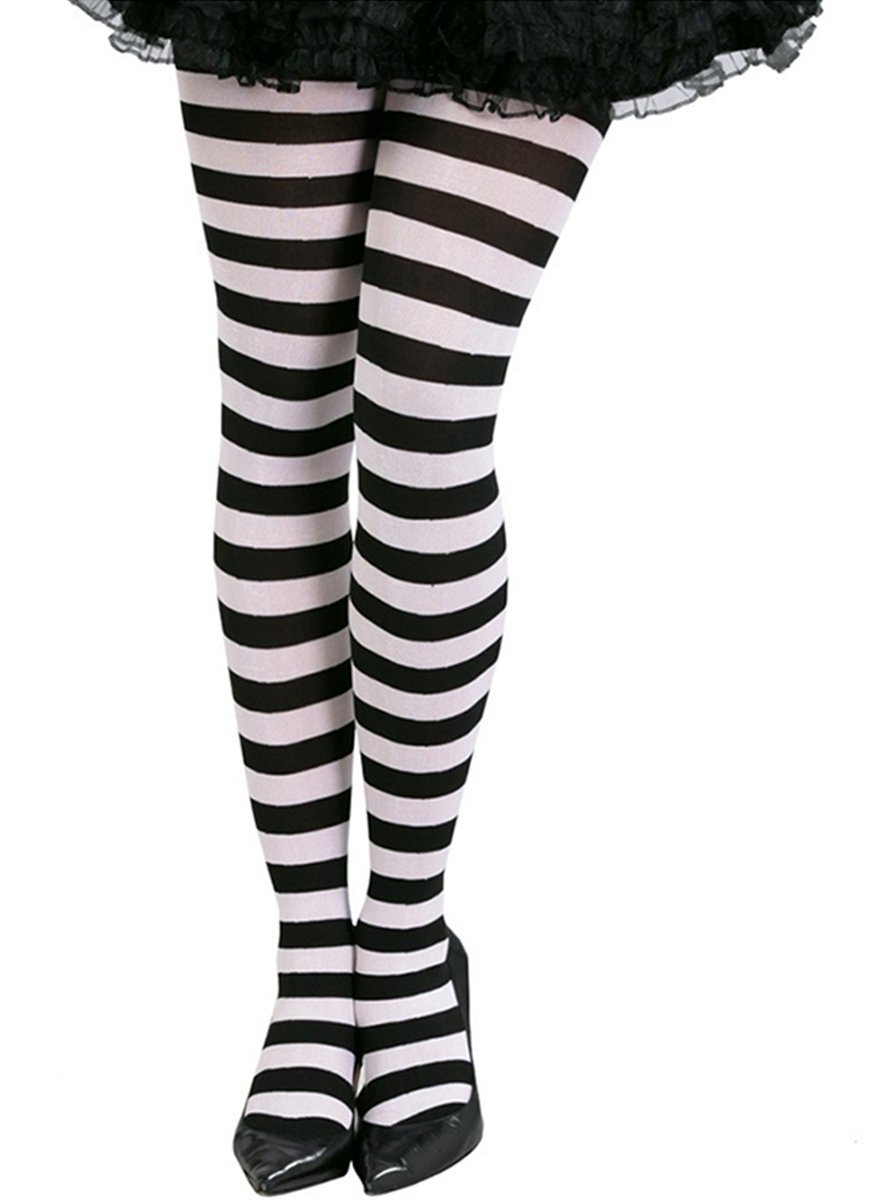 7baaa700b46 Get Quotations · Ladies Halloween Black And White Stripe Tights