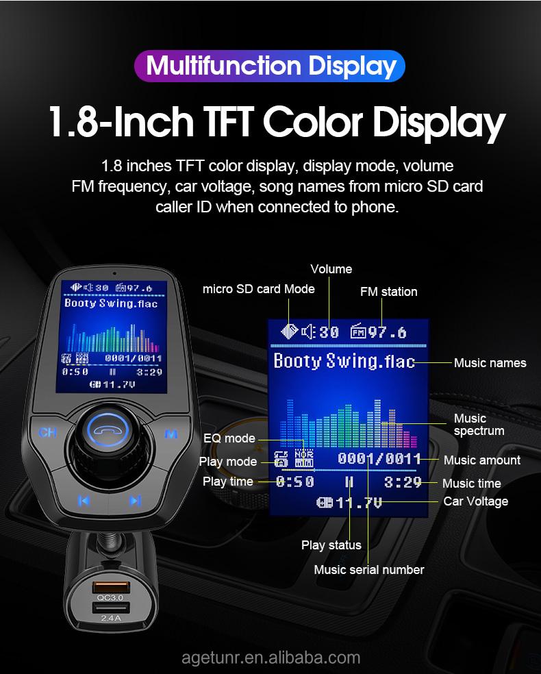 AGETUNR T26D bluetooth car fm transmitter SD card U-disk QC3