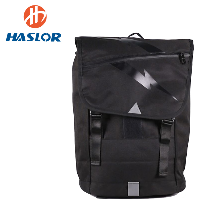 High quality fashion polyester black leisure school teenager leisure backpack
