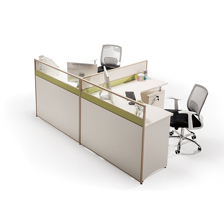 Modern L Sharp Partition Screen Office Computer Desk 2 Person