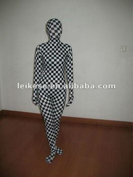 black and white check spandex full body suit