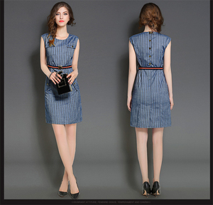 2016 Summer New Fashion OEM Office Ladies Casual Dress Stripes Long Pencil Dress