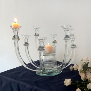 Unique 8 Arms Stem Crystal Candelabra, Table Candle Holder
