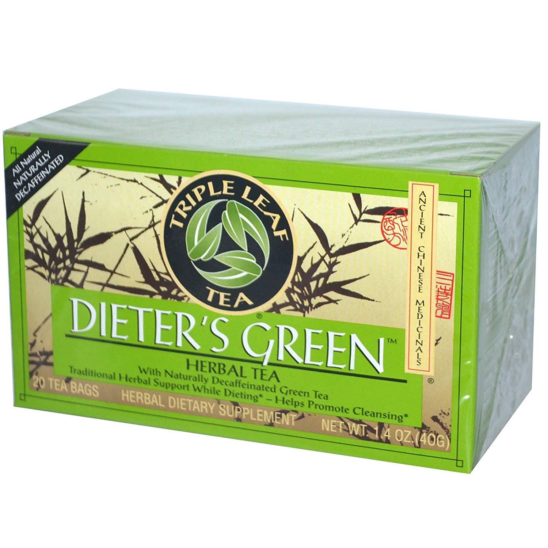 Triple Leaf Tea, Dieter's Green, Herbal Tea, Decaf, 20 Tea Bags, 1.4 oz (40 g) - 3PC