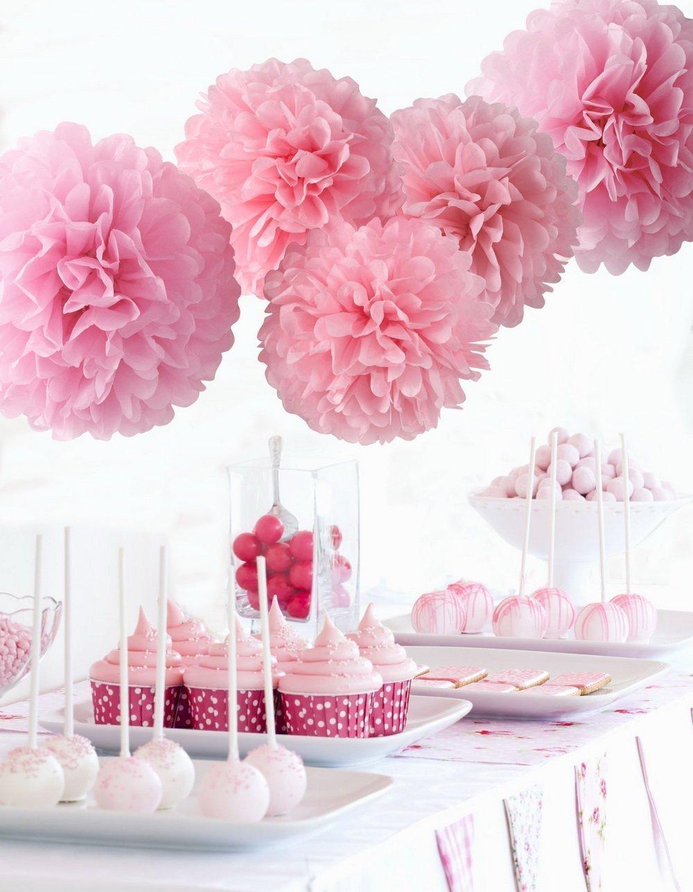 Buy Pom Poms 5pcs Tissue Paper Flowerspink2 Sizestissue Paper