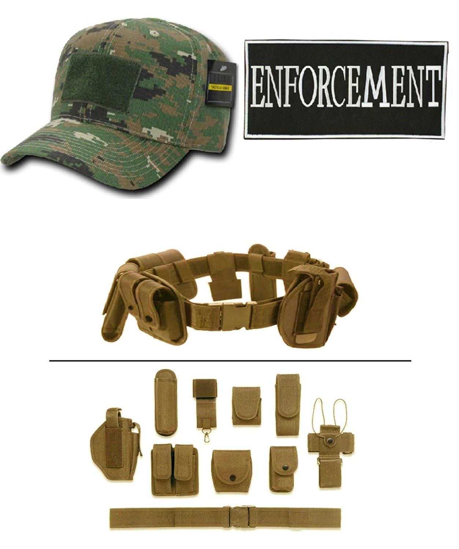 Woodland Digital Cap + ENFORCEMENT ID + Tan Duty Belt Holster