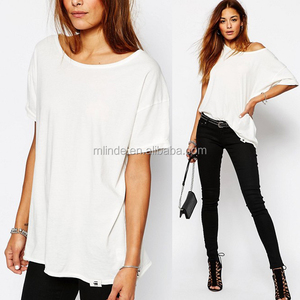 100% Cotton Women Plain White Loose Fit Simple Jersey T-Shirt Wholesale Clothing Custom