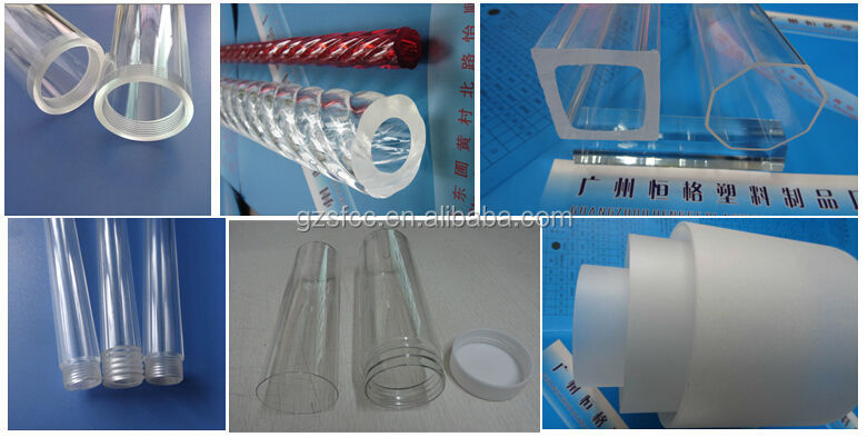 Clear hard plastic pipe cylinder tube