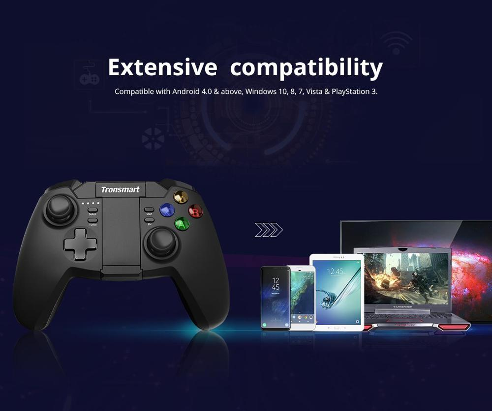New Version Tronsmart Mars G02 Gampad Wireless Game Controller with Bluetooth & 2.4GHz Modes for Android Windows Play Station 3