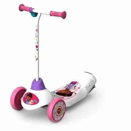 Pulse Performance Products Disney Doc McStuffins Safe Start 3-Wheel Electric Scooter - 3 large, smooth-rolling urethane wheels - Max user weight: 50 lbs