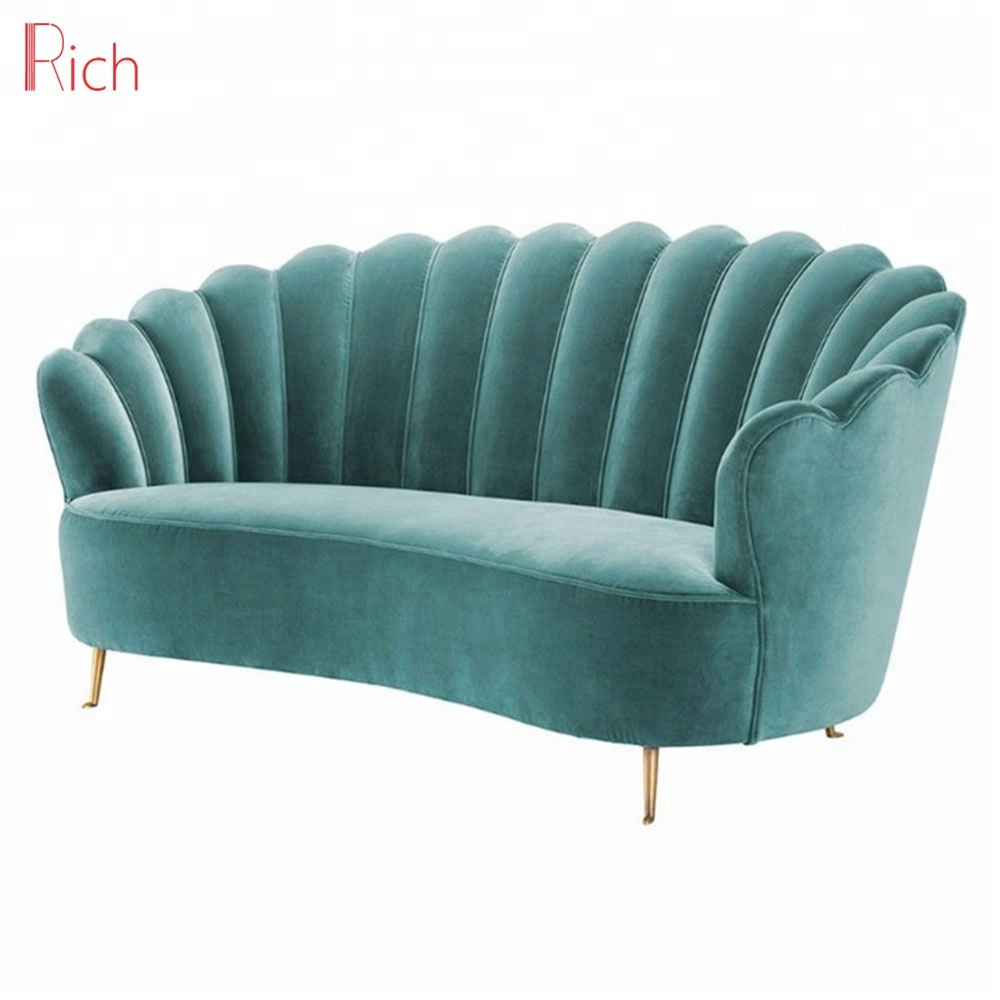 Awesome Nordic Style Shell Shaped Divano Due Posti Stainless Steel 2 Seater Sofa Green Upolstery Fabric Velvet Loveseat Buy Loveseat Sofa Designer Loveseat Andrewgaddart Wooden Chair Designs For Living Room Andrewgaddartcom