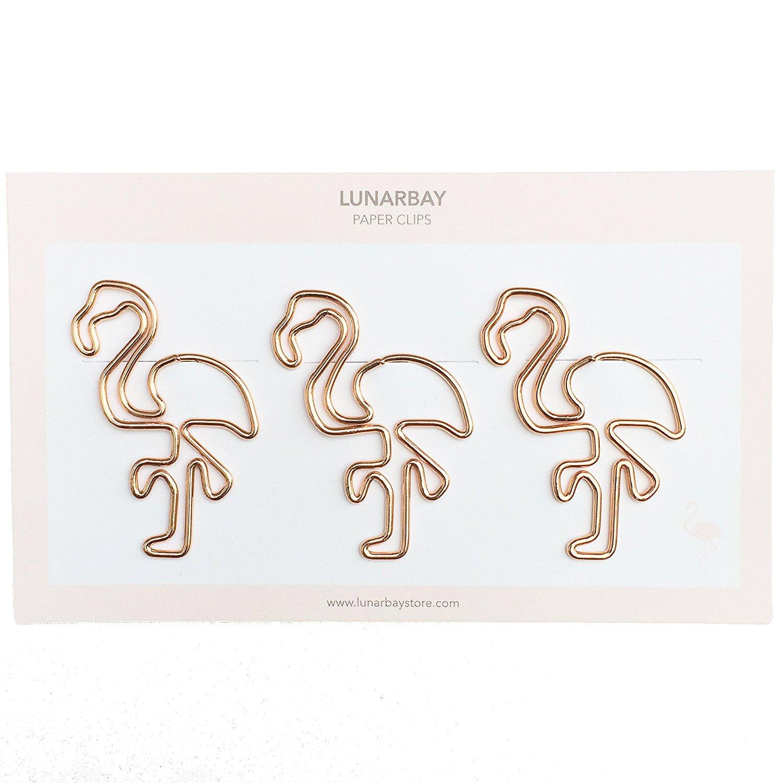 3 x Flamingo Paper Clips (Rose Gold) / Cute Paper Clips / Cute Binder Clips / Best Seller / Best Selling / Lunarbaystore.com
