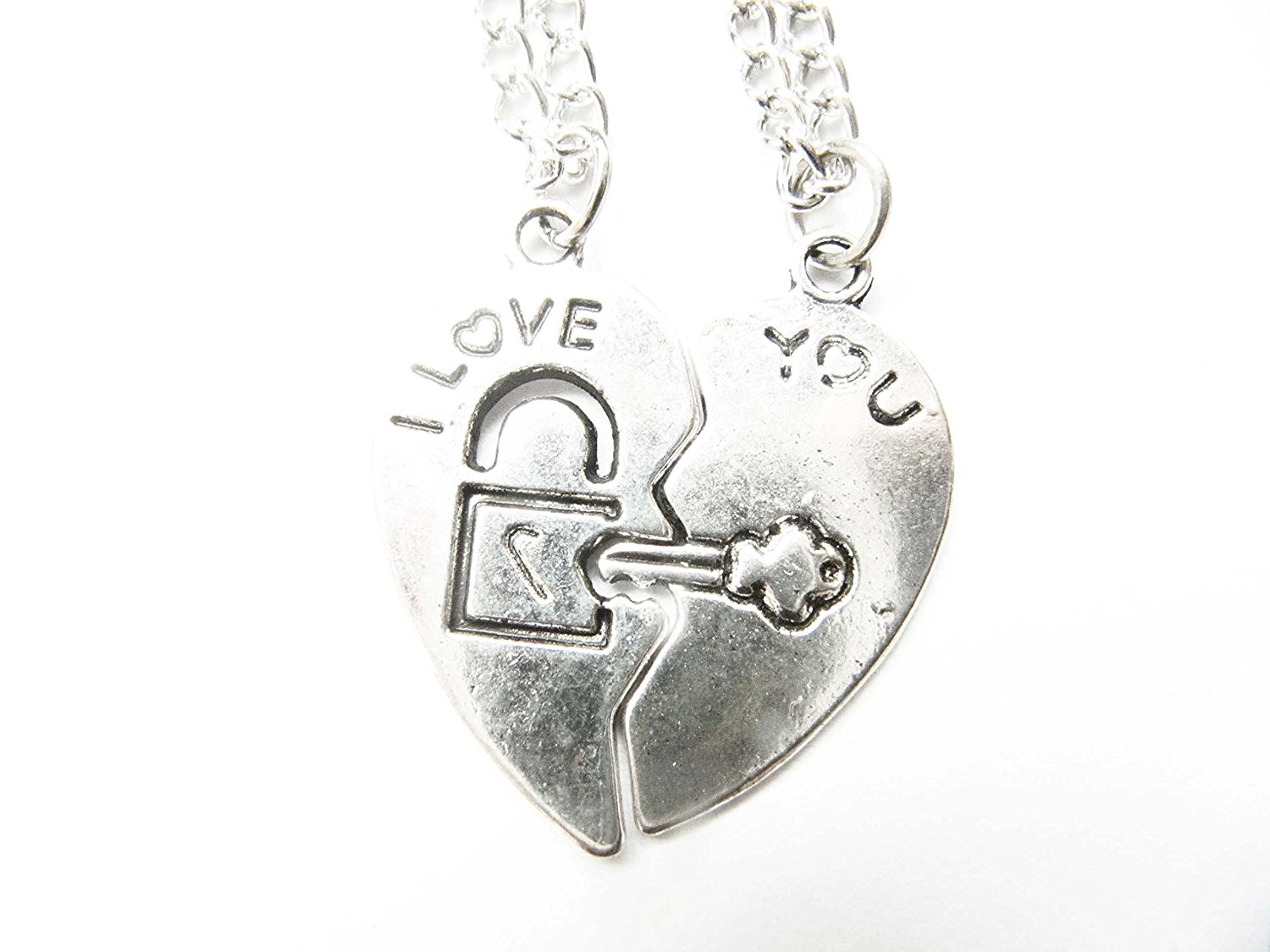 cad6bc4f59 Get Quotations · Ancient Silver I Love You Heart Necklaces,couples Pair of  Split Half Heart Necklaces -