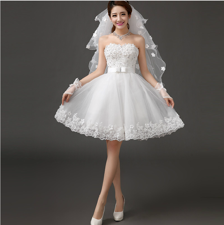 Cheap Wedding Dresses Colorado Springs: Aliexpress.com : Buy Strapless Short Wedding Dress 2014