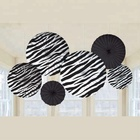 Zebra Stripes Black Paper Fans Decorations, Birthday Party Supplies Room Hanging, Pack Of 6