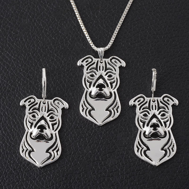 Hot Sale Border Collie Necklace Earring Set 3D Cut Out Dainty Puppy Dog Lover Pendant Memorial Necklaces Christmas Gift For Wome