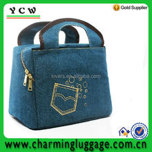 promotional jean fabric cooler bag/insulated jean fabric lunch bag