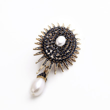 Antique bronze brass sunflower pearl pendant lady brooches pin