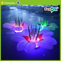 ground led lighting inflatable flower wedding stage decoration