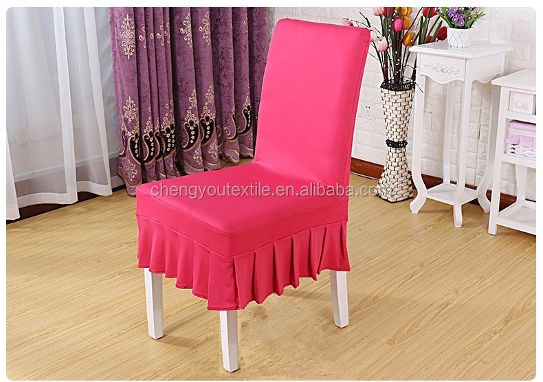 Wholesale Spandex Ruched Peach Blossom Chair Cover With Short Skirt