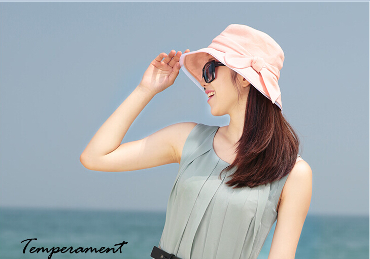 Wholesale Summer Sun Hat With Bowknot Design Factory Sun Visor Hat