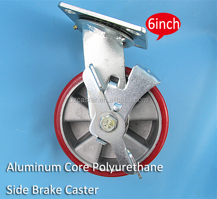 6inch 150mm heavy duty aluminum core pu hand trolly fixed caster wheel with brake