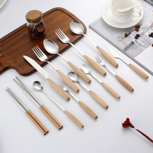 Promotional Stainless Steel 2 or 4 Pieces Fork Spoon Knife Set Wooden Handle Cutlery