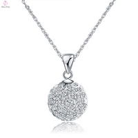 Jewelry Fashion 2019 Woman Wedding Crystal Diamond Ball Shaped Design Pendant Necklace 925 Silver