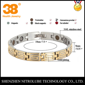 Health medical products two tones gold plated stainless steel super S 5 in 1 magnetic therapy bracelet
