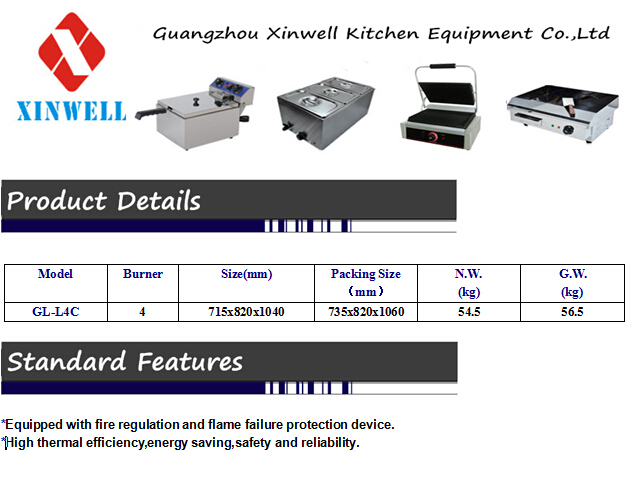 Hot 4 Burner Gas Cooker Top