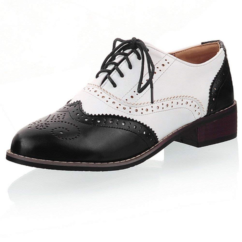 b93c1439c0 Get Quotations · Cicime Oxford Shoes for Women Perforated Lace-up Wingtip  Flat Oxfords Brown Oxford Shoes Brogues