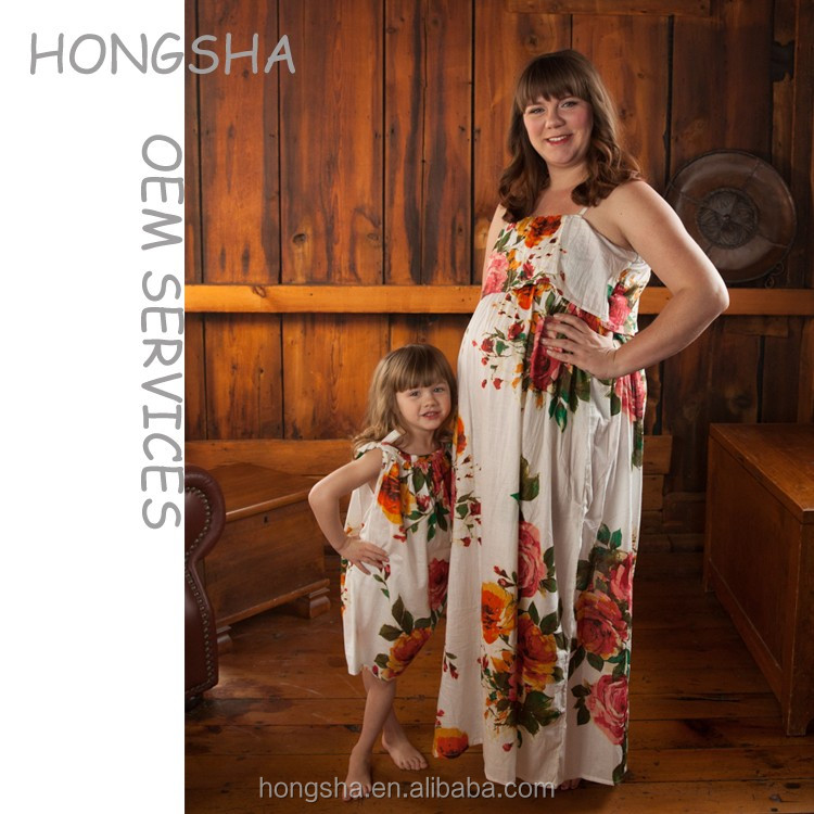 9af87ec1e7e New arrival maternity mother and daughter matching dresses high quality  flower printed mommy and ma maxi