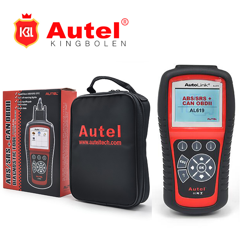 Wholesale Original Autel Autolink AL619 ABS/SRS + CAN OBDII Code Reader Turn off Check Engine Light clears codes resets monitors