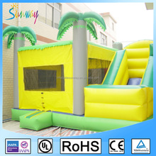 5MX4.5MX4M Green Inflatable Palm Tree Bouncer Moonwalk With Water Slide