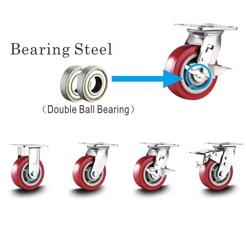 Load Capacity Double Ball Race Bearing Polyurethane Hand Cart Wheels Swivel Brake PU Medium Duty 75mm 90kgs Plastic Rim 1/2 in -