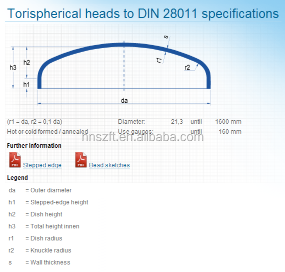 Din 28011 Specifications Torispherical Dish Heads - Buy Torispherical  Heads,Din 28011 Heads,Dish Heads Product on Alibaba com