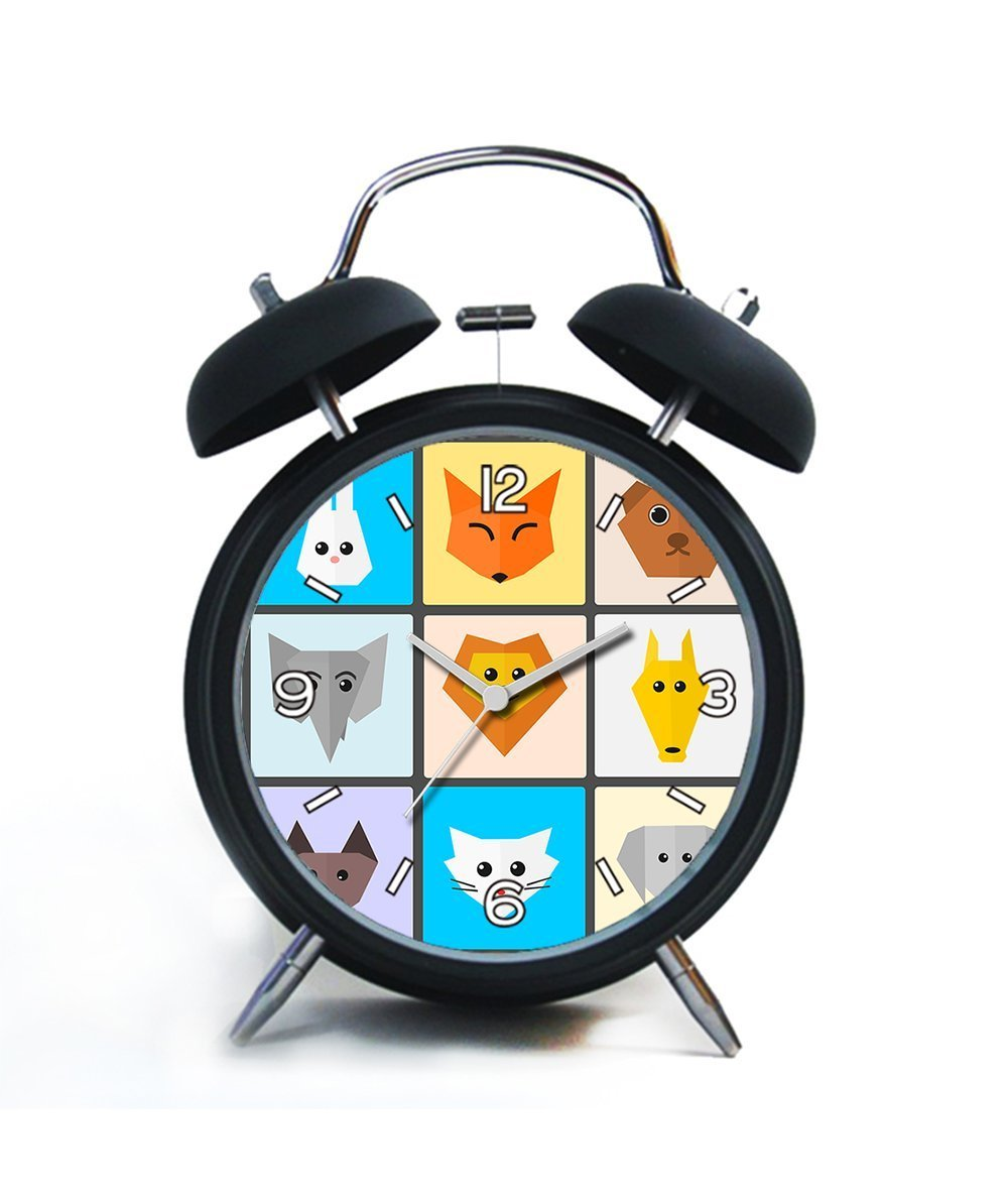 Twin Bell Analog Alarm Clock-Loud Alarm Clock(black)Custom pattern-017.Animals, Cute, Flat, Cute Animals, Funny, Pet, Cat, Zoo