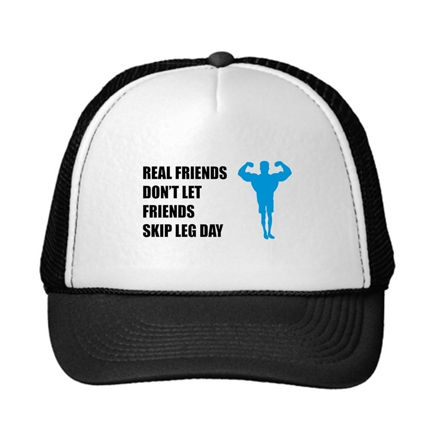 3f96b81e21029 Get Quotations · YAPADD Awesome Trucker Hats Real Friends Dont Let Friends  Skip Leg Day Cool Snapback Hats