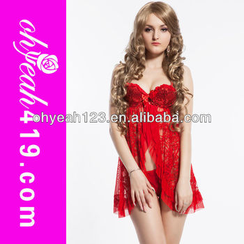 Hot Red Front Open Plus Size Babydoll Dress With Paillette Buy
