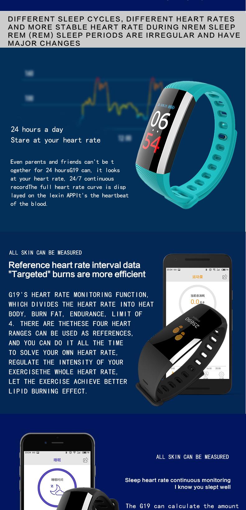 2018 Bluetooth Smart Bracelet for Men Heart Rate Sleep Monitor Smartband
