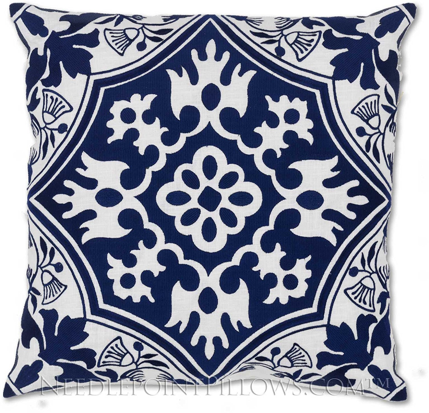 """Hand-crafted Decorative Embroidered William Morris Arts & Crafts Royal Navy Blue Stitched Designer Accent Pillow. 18"""" X 18"""""""